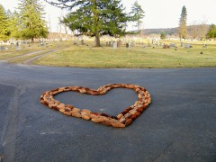 A Loving pinecone heart memorial