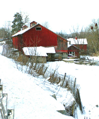 Red Barn in Snow Route12