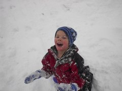 A face full of snow!