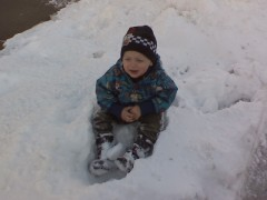 Zachary in snow pile