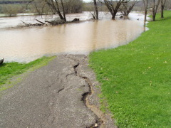 Flooded walking trail in Bainbridge