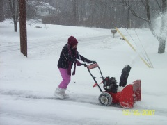 Learning to use snowblower