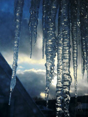 Icicles growing as sun is going.