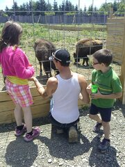 Feeding the animals with Dad!