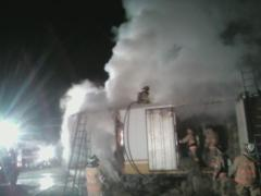 Fire Department Battles Trailer Fire