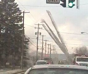 3 ladder trucks at Binghmaton fire