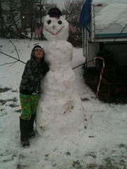 Alexis's 1st Huge Spring Snowman 2011