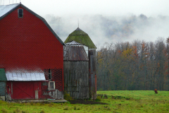 Red Barn Morning Fog