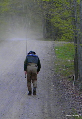 The walk back up the road after fishin