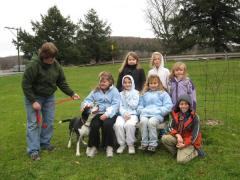 Girl Scout Troop 37 with Chubbs the dog