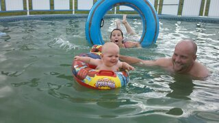 Ayden swimming with uncle potter& sissy