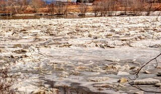 The river ice is breaking up