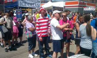 Here is Waldo at the Strawberry Fest.