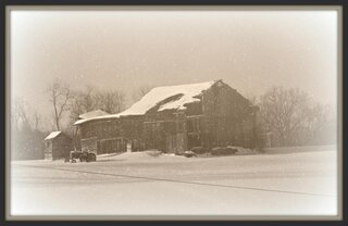 Old man Winter and the Old Barn