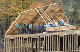 Amish Barn Raising in Otsego County