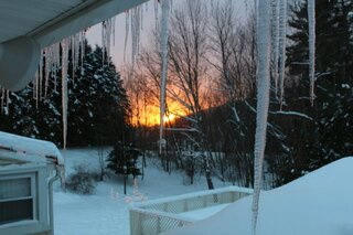 Icicle light sunset