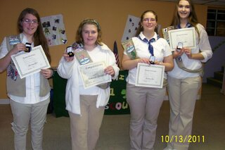 1 Girl Scout Troop-7 girls/7 awards