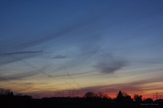 Contrails, Clouds, and Sunset