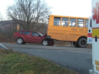 car hits school bus