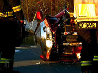 Accident sends motorcyclist to hospital