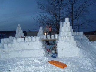 Happy New Year with a snow castle