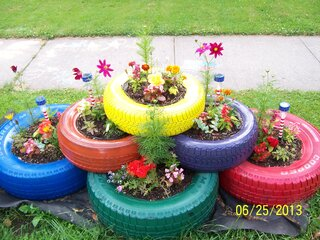 My new flower garden made with tires.