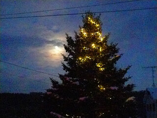 Moon & Christmas Lights 12/15/13