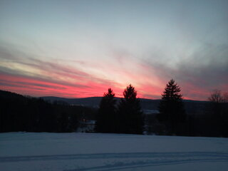 out snowmobiling and saw this sunset