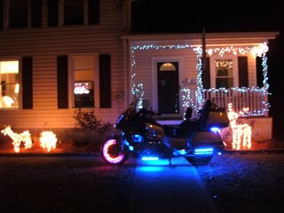 Xmas Lights with our 88 Honda GoldWing