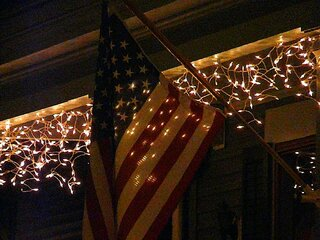 Christmas Lights & Flag