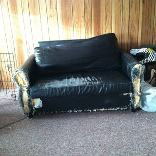 The ugliest black couch on earth!