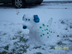 Dog made out of Snow