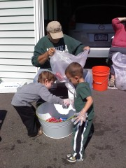 Littler helpers at the bottle drive.