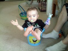 Evan in one of his Easter baskets!
