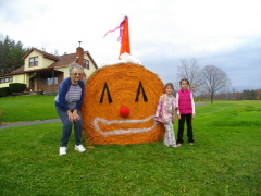 Giant Hay Bale Clown Pumpkin