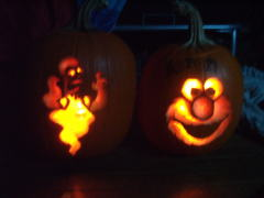 ELMO AND HOMER SIMPSON PUMPKINS