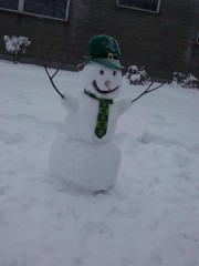 A Snowman Filled with Irish Spirit