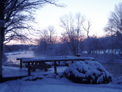 Snowy sun  rise on the Charlotte Creek near West Davenport