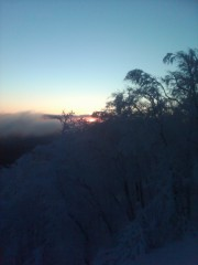 Top of Belleayre ski center sunrise