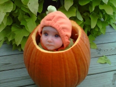 Hollie happy in her pumpkin
