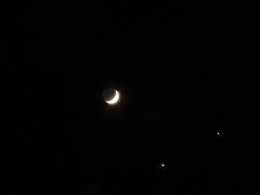 Waxing Crescent, Jupiter, and Venus