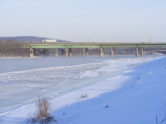 Steam rises from The Chenango R. at 0 F