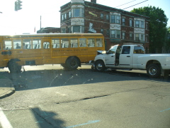 School bus & truck accident