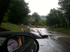 Road washout in Guilford