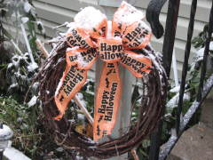 Snow on my Halloween Bow