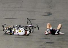 Crash at Pro Women's Bike Race