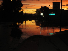 sunset after flood