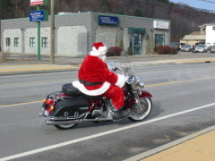 Santa Arriving on a Harley