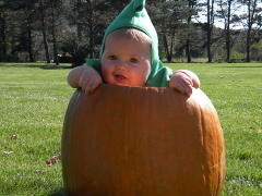 He enjoyed being inside the pumpkin!