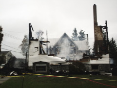 historic church up in flames
